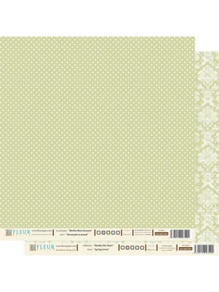 """Бумага Серия """"Шебби Шик Базовая""""-Весенний зелёный,двухсторонняя,цена за 1 лист"""