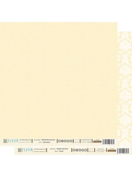 """Бумага Серия """"Шебби Шик Базовая""""-Кремовый,двухсторонняя,цена за 1 лист"""