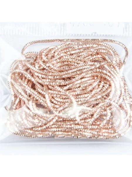 Канитель фигурная d.1мм 5грамм (розовое золото) №4986