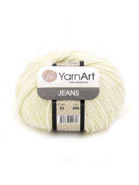 "Пряжа  YarnArt ""Jeans Джинс""цв. 03, молочный"