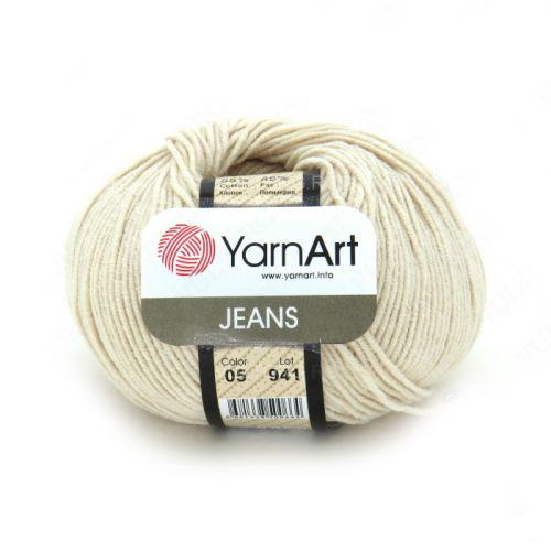 """Пряжа  YarnArt """"Jeans Джинс""""цв. 05, экрю"""