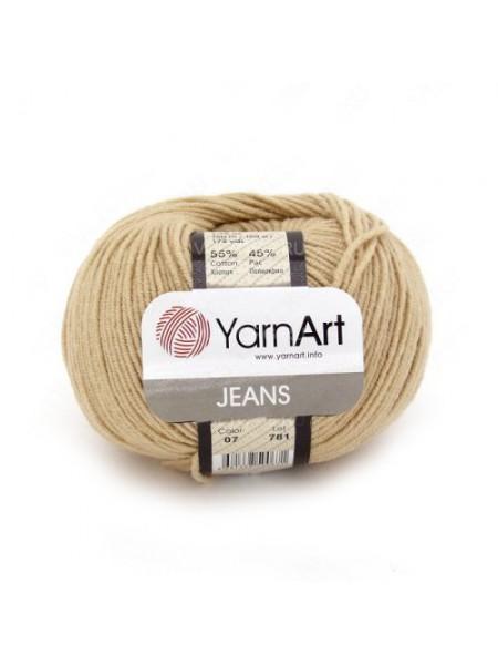 "Пряжа  YarnArt ""Jeans Джинс""цв. 07, бежевый"