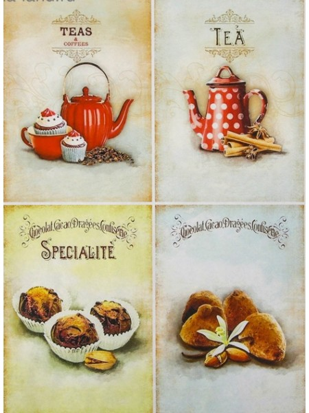 """Декупажная карта-  """"Чай с шоколадом"""", плотность 45 г/м2"""
