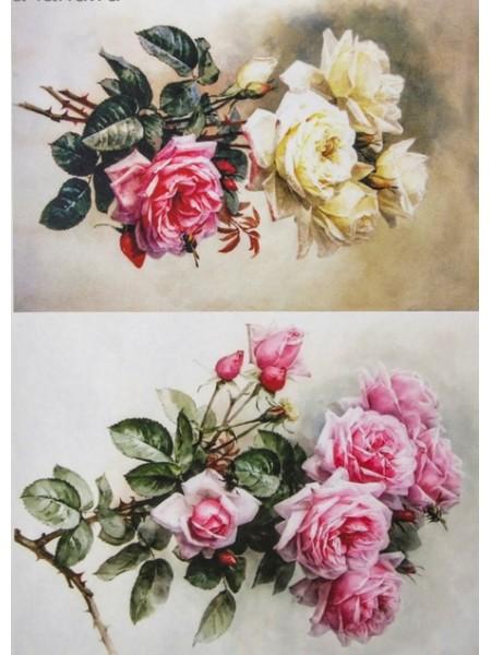 """Декупажная карта-  """"Роскошные розы"""", плотность 45 г/м2"""