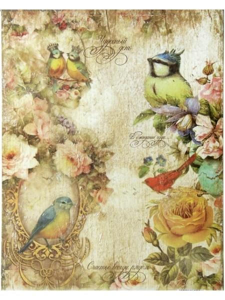 Декупажная карта- Птицы