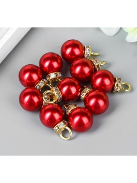 Красные жемчужины с петелькой в золоте. Цена за 10 шт