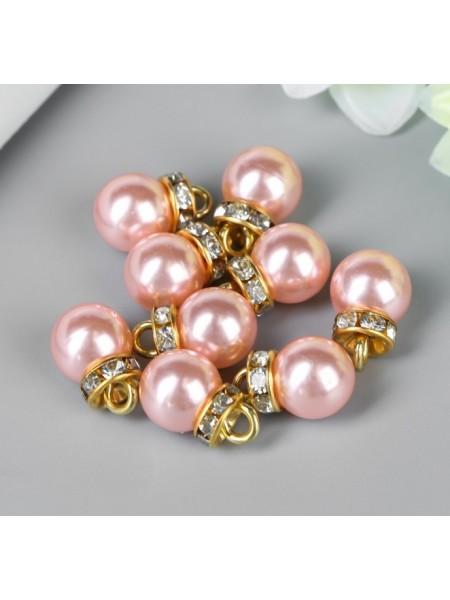 Нежно-розовые жемчужины с петелькой в золоте. Цена за 10 шт