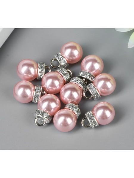 Нежно-розовые жемчужины с петелькой в серебре. Цена за 10 шт