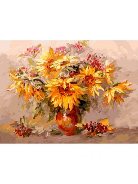 Рисование по номерам (живопись на картоне),Подсолнухи и калина, 30*40 см.29 цв.