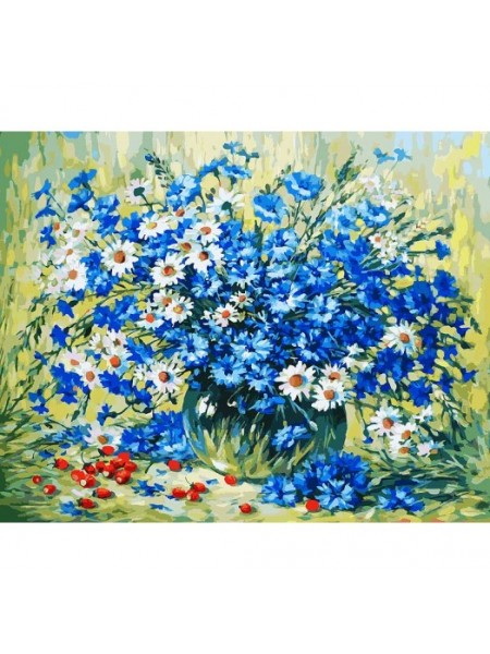 Рисование по номерам (живопись на холсте),Летний натюрморт, 40*50 см.35 цв.