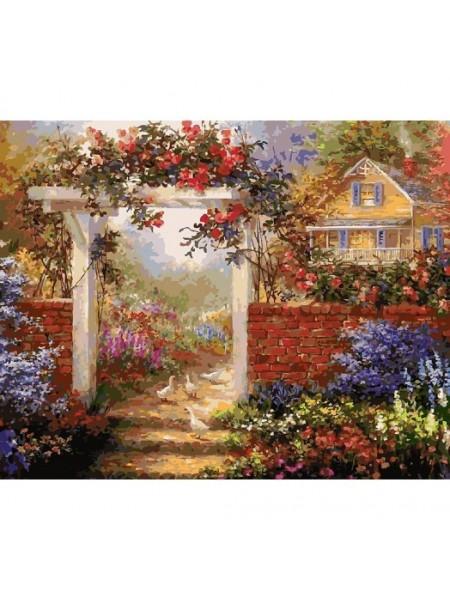Рисование по номерам (живопись на холсте),Цветущая усадьба, 40*50 см.35 цв.
