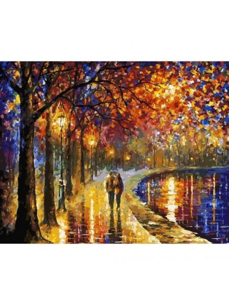 Рисование по номерам (живопись на холсте),Пара у озера, 40*50 см.38 цв.