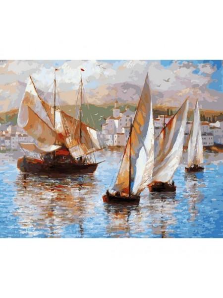 Рисование по номерам (живопись на холсте), Морская прогулка по Италии, 40*50 см.35 цв.
