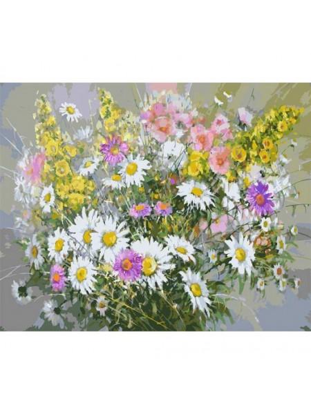 Рисование по номерам (живопись на холсте), Букет с ромашками, 40*50 см.38 цв.