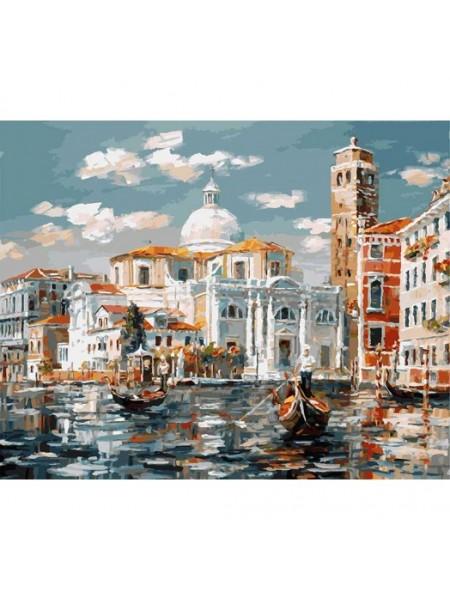 Рисование по номерам (живопись на холсте), Венеция. Церковь Сан Джеремия, 40*50 см.38 цв.