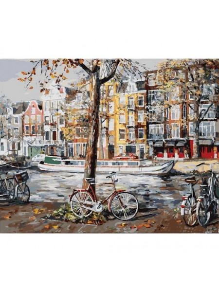 Рисование по номерам (живопись на холсте), Осенний Амстердам, 40*50 см.38 цв.