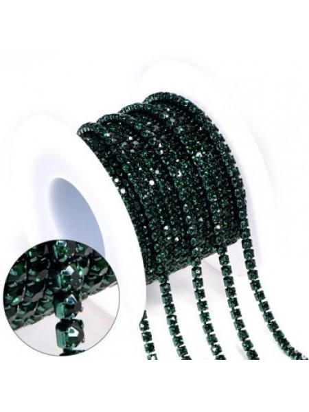 Цепочка  из страз ,2,5мм, стекло,цв  тёмно-зелёный на зелёном, цена за 10 см