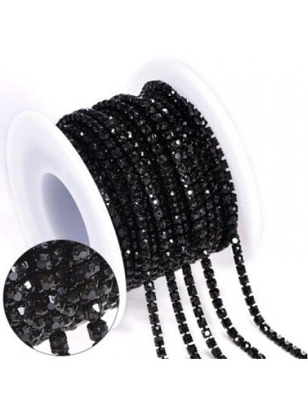 Цепочка  из страз ,2,5мм, стекло,цв-черный на черном, цена за 10 см