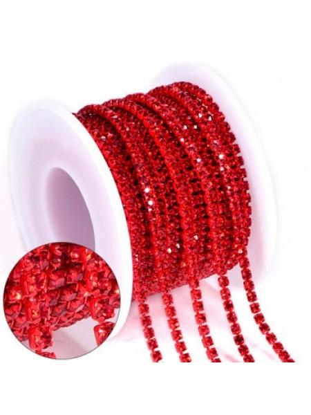 Цепочка  из страз ,2,5мм, стекло,цв-красный на красном, цена за 10 см