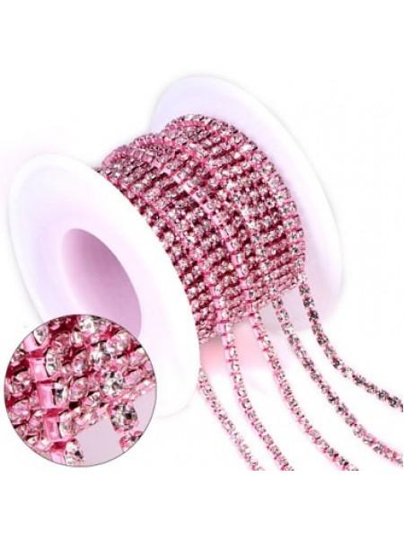 Цепочка  из страз ,2,5мм, стекло,цв-белый на розовом, цена за 10 см