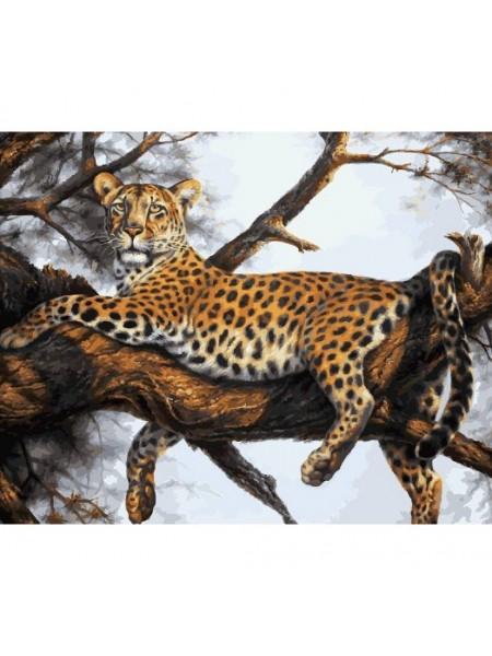 Рисование по номерам (живопись на холсте), Леопард на отдыхе, 40*50 см.32 цв.