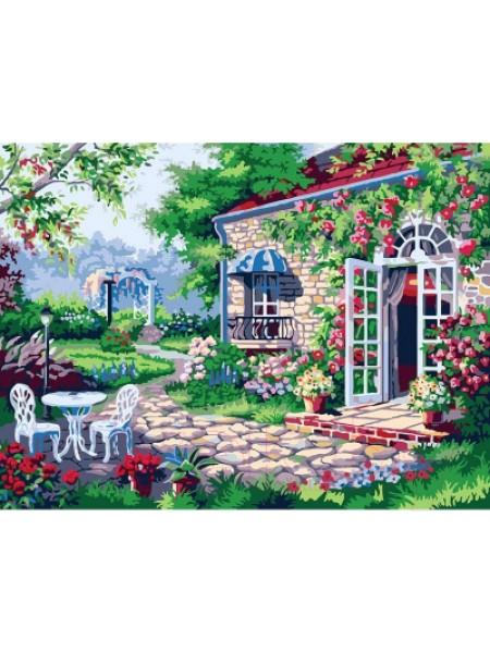 Рисование по номерам (живопись на холсте),Терраса, 30*40 см,23 цв