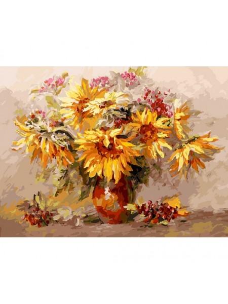 Рисование по номерам (живопись на холсте), Подсолнухи и калина, 30*40 см,29 цв