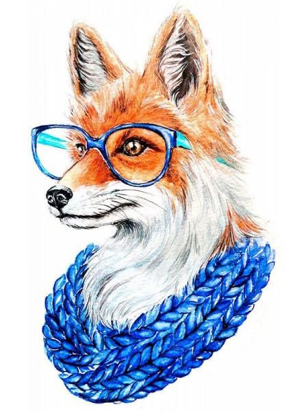 Алмазная вышивка Лиса в очках на подрамнике,  19цв, 20х30см