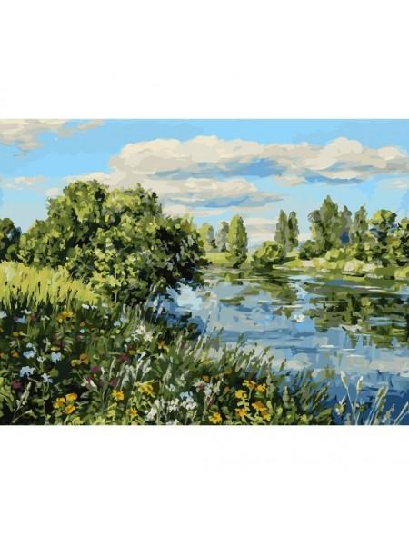 Рисование по номерам (живопись на холсте), Летний день у реки, 30*40 см, 33 цв.