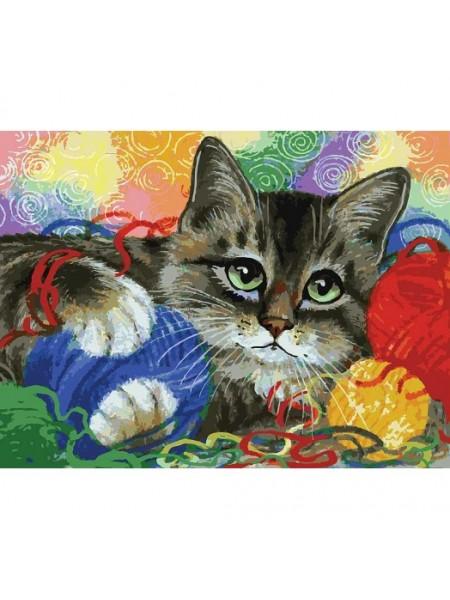 Рисование по номерам (живопись на картоне), Котик с клубочками, 30*40 см.36 цв.