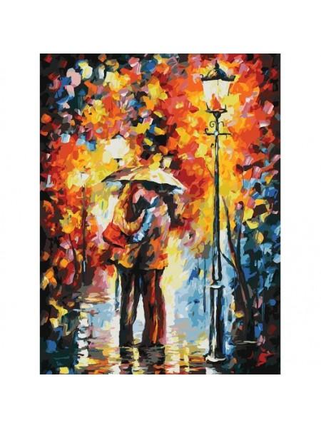 Рисование по номерам (живопись на картоне), Поцелуй под дождем, 30*40 см.30 цв.