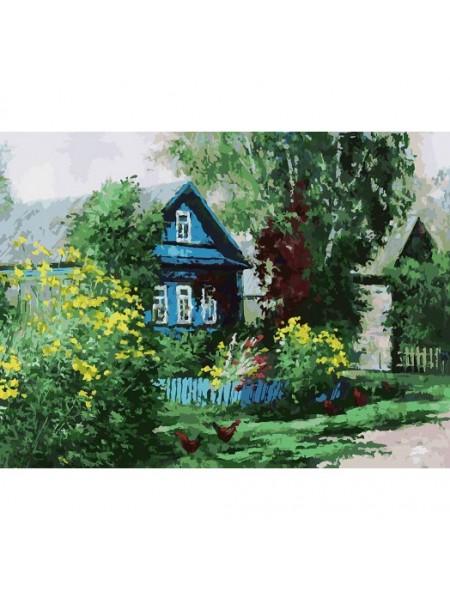 Рисование по номерам (живопись на холсте), Домик в деревне, 30*40 см,36 цв