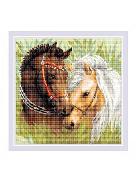Алмазная мозаика Риолис «Пара лошадей» 40*40см,квадр.стразы