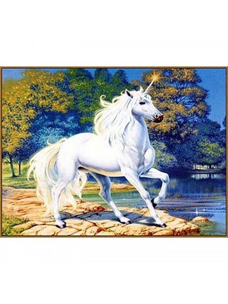 """Алмазная мозаика """"Единорог у синего озера"""", 20*27 см, 23 цвета"""