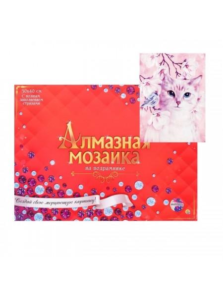 Алмазная мозаика 30 × 40 см, полное заполнение, с подрамником «Кошечка у цветущего дерева»