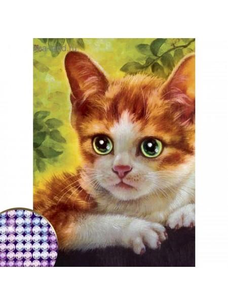 Алмазная вышивка с частичным заполнением  «Котёнок», 15 х 21 см.