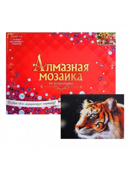 Алмазная мозаика 30 × 40 см, полное заполнение, с подрамником «Молодой тигр»