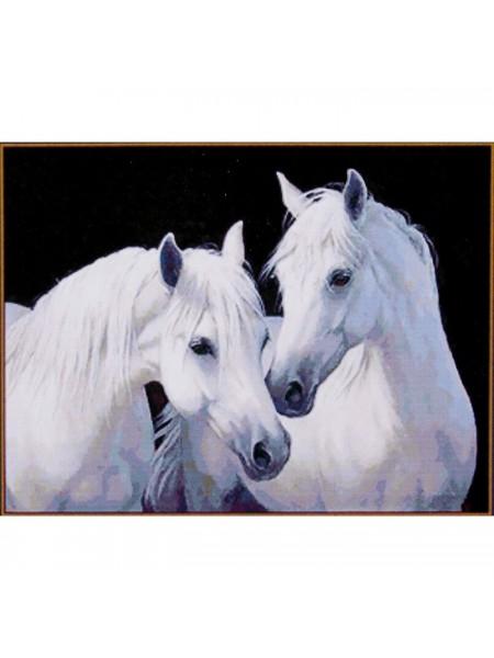 """Алмазная мозаика """"Пара белых лошадей"""", 26*20 см, 20 цветов"""