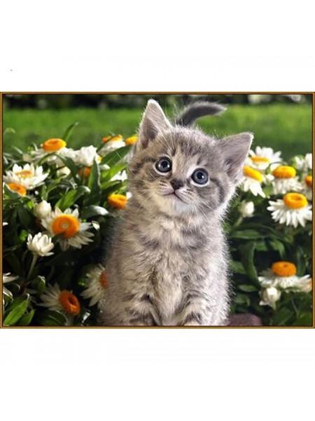 Алмазная мозаика «Послушный котёнок», 32 цвета