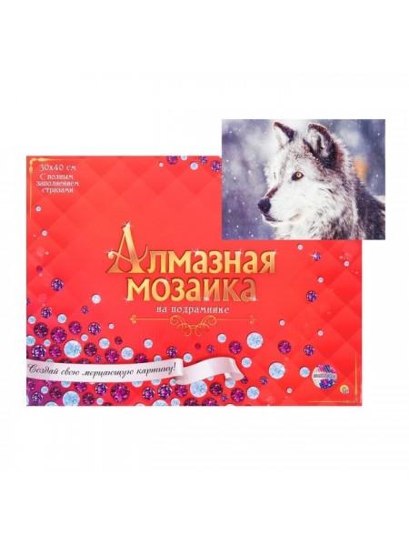 Алмазная мозаика 30 × 40 см, полное заполнение, с подрамником «Волк в снегу»