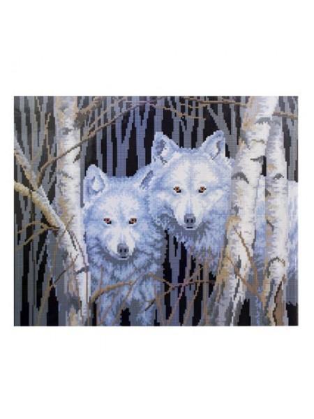 Алмазная мозаика на подрамнике 'Пара волков', 40*50см,кругл.стразы