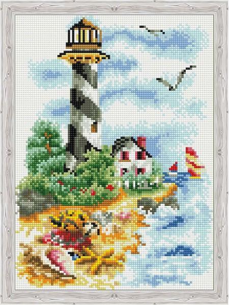 Алмазная вышивка Чайки у маяка на подрамнике,  31 цв, 30х40см