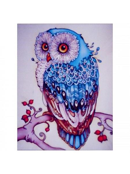 Алмазная мозаика «Сапфировая сова» 20 × 27 см, 26 цветов