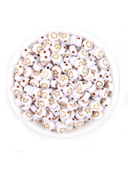 Бусины акрил, ассорти рисунков на белом,7*4 мм (24-25шт),цвет золото