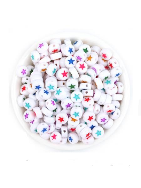 Бусины акрил, разноцветные  звездочки на белом,7*4 мм (24-25шт)