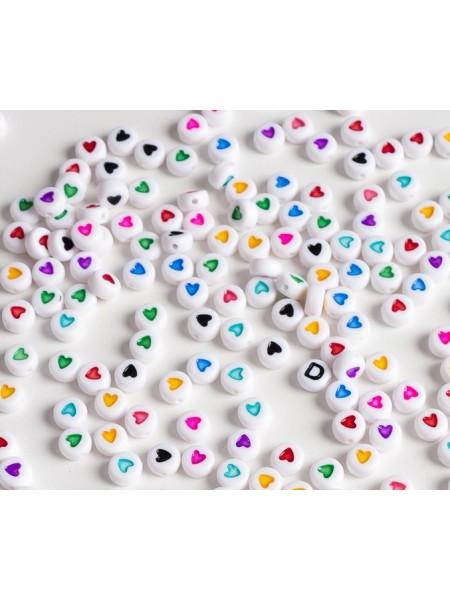 Бусины акрил.с сердечком,цв- микс,7*4 мм (25шт)