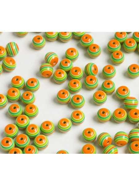 Бусины акрил.круглые в полоску,цв- микс,10 мм (24-25шт)
