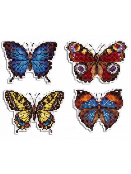 """Набор для вышивания на пластиковой канве МП Студия """"Яркие бабочки""""Магниты'9*6см"""