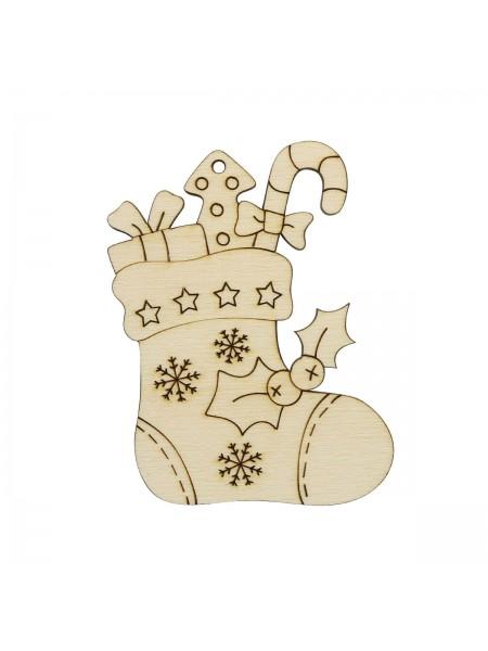Деревянная заготовка 'Носок с подарками' 8,9*7