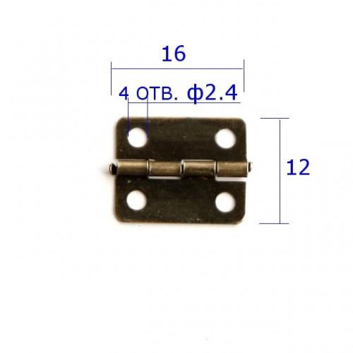 Петля для шкатулок 16*12 мм(прямая), мм, 2шт бронза